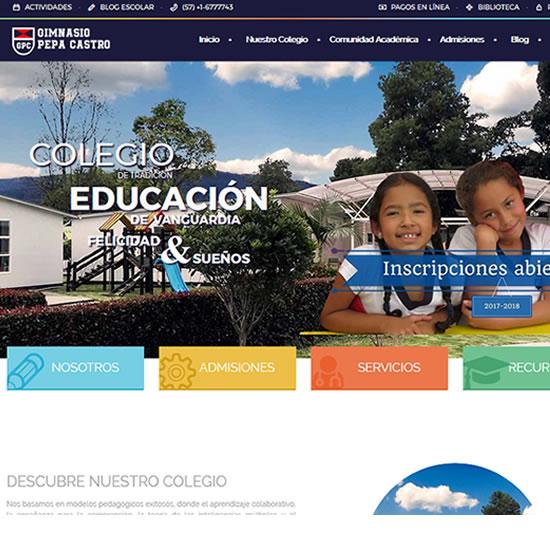 diseño web para un colegio con eventos